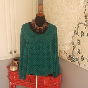 Merona green pattern shirt